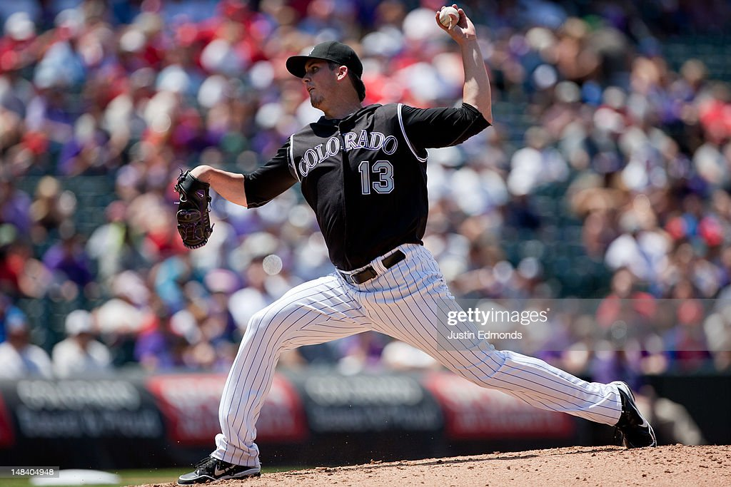 Starting pitcher <a gi-track='captionPersonalityLinkClicked' href=/galleries/search?phrase=Drew+Pomeranz&family=editorial&specificpeople=7513241 ng-click='$event.stopPropagation()'>Drew Pomeranz</a> #13 of the Colorado Rockies delivers to home plate during the fourth inning against the Philadelphia Phillies at Coors Field on July 15, 2012 in Denver, Colorado.