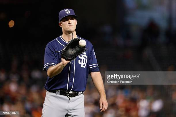 Starting pitcher Drew Pomeranz of the San Diego Padres reacts as he pitches during the second inning of the MLB game against the Arizona Diamondbacks...