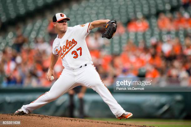 Starting pitcher Dylan Bundy of the Baltimore Orioles throws a pitch to a Kansas City Royals batter in the first inning during a game at Oriole Park...