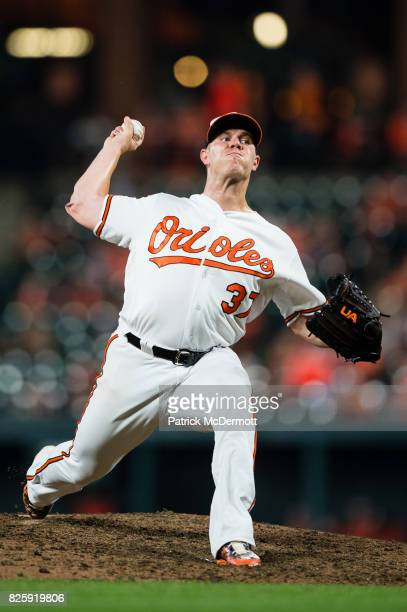 Starting pitcher Dylan Bundy of the Baltimore Orioles throws a pitch to a Kansas City Royals batter in the eighth inning during a game at Oriole Park...