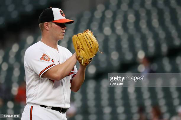Starting pitcher Dylan Bundy of the Baltimore Orioles throws to a Cleveland Indians batter in the first inning at Oriole Park at Camden Yards on June...