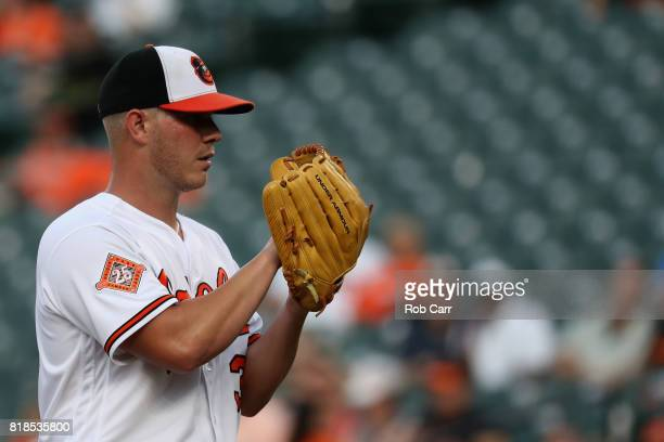 Starting pitcher Dylan Bundy of the Baltimore Orioles throws to a Texas Rangers batter in the second inning at Oriole Park at Camden Yards on July 18...