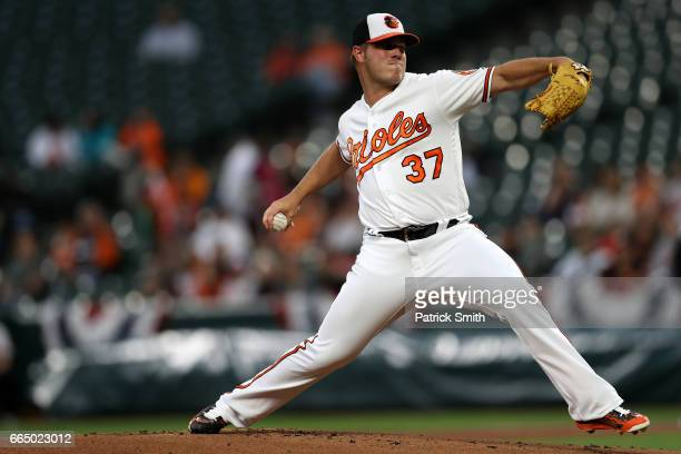 Starting pitcher Dylan Bundy of the Baltimore Orioles works the first inning against the Toronto Blue Jays at Oriole Park at Camden Yards on April 5...