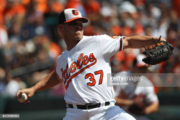 Starting pitcher Dylan Bundy of the Baltimore Orioles works the first inning against the New York Yankees at Oriole Park at Camden Yards on September...