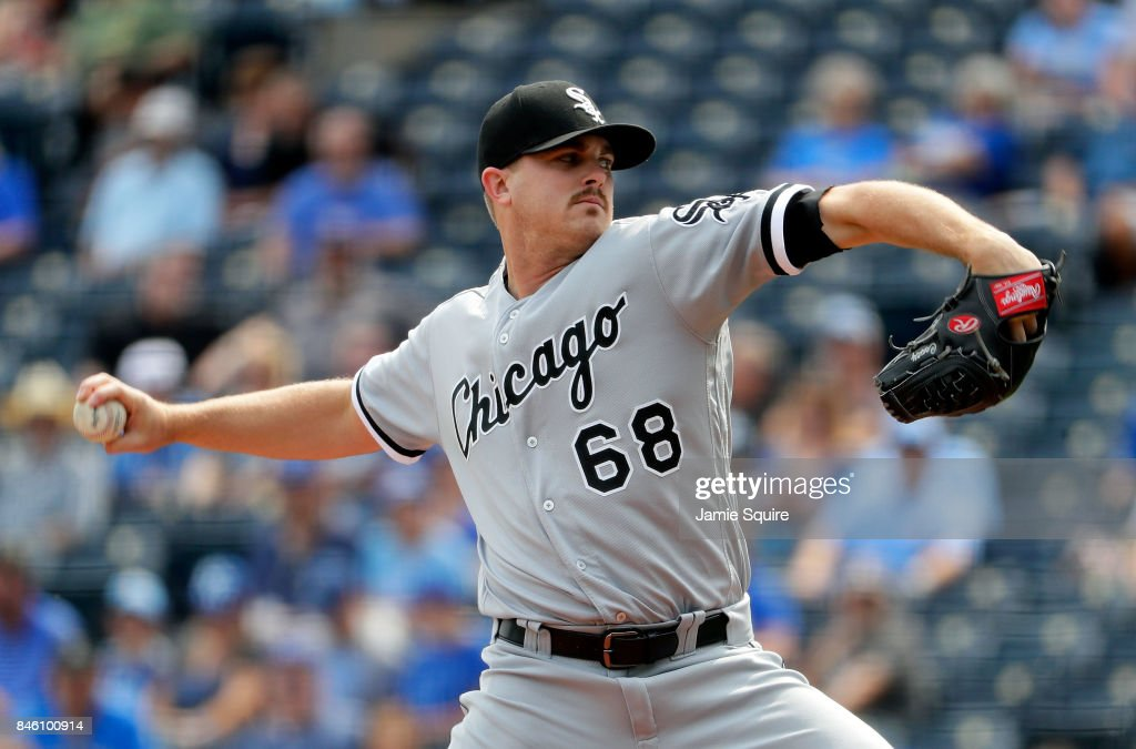 Starting pitcher Dylan Covey #68 of the Chicago White Sox pitches during the 1st inning of the game against the Kansas City Royals at Kauffman Stadium on September 12, 2017 in Kansas City, Missouri.