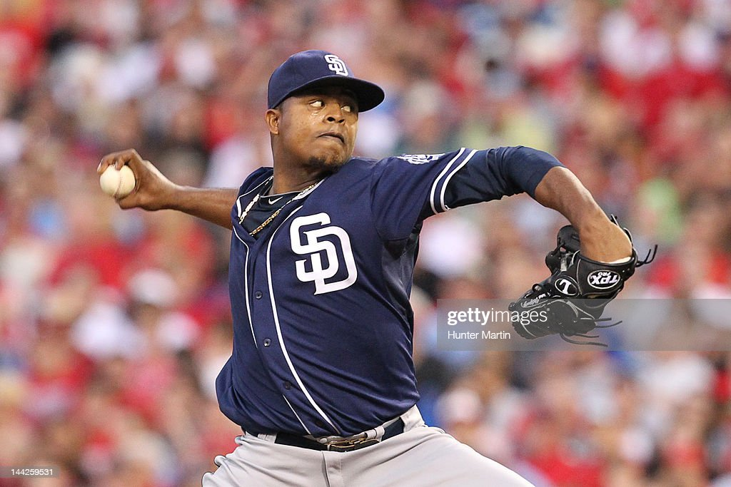 Starting pitcher <a gi-track='captionPersonalityLinkClicked' href=/galleries/search?phrase=Edinson+Volquez&family=editorial&specificpeople=3851791 ng-click='$event.stopPropagation()'>Edinson Volquez</a> #37 of the San Diego Padres throws a pitch during a game against the Philadelphia Phillies at Citizens Bank Park on May 12, 2012 in Philadelphia, Pennsylvania.