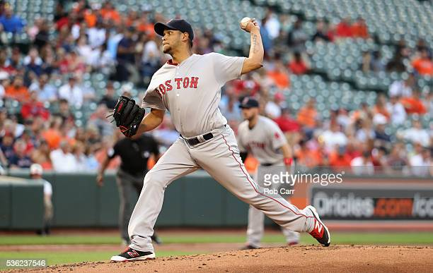 Starting pitcher Eduardo Rodriguez of the Boston Red Sox throws to a Baltimore Orioles batter in the first inning at Oriole Park at Camden Yards on...
