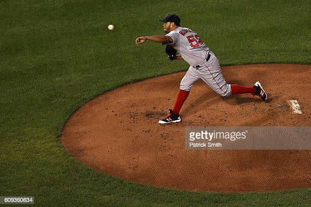Starting pitcher Eduardo Rodriguez of the Boston Red Sox works the first inning against the Baltimore Orioles at Oriole Park at Camden Yards on...