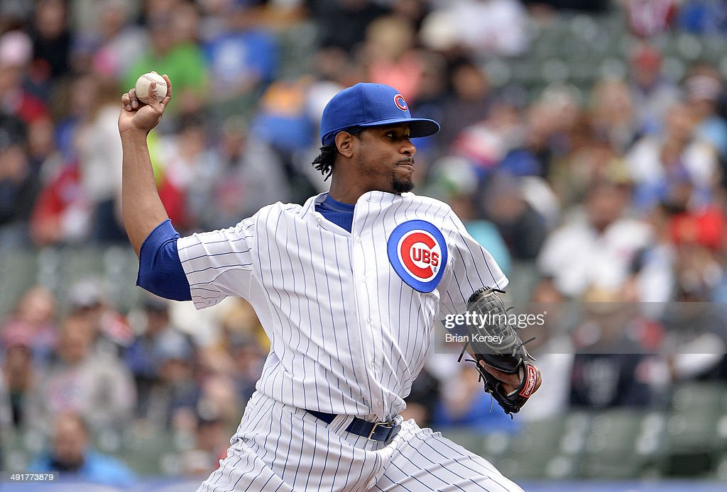 Starting pitcher <a gi-track='captionPersonalityLinkClicked' href=/galleries/search?phrase=Edwin+Jackson&family=editorial&specificpeople=220506 ng-click='$event.stopPropagation()'>Edwin Jackson</a> #36 of the Chicago Cubs delivers a pitch during the first inning against the Milwaukee Brewers at Wrigley Field in Chicago, Illinois.