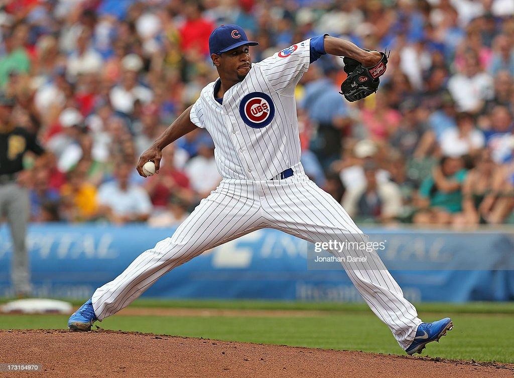 Starting pitcher Edwin Jackson #36 of the Chicago Cubs delivers the ball against the Pittsburgh Pirates at Wrigley Field on July 6, 2013 in Chicago, Illinois.