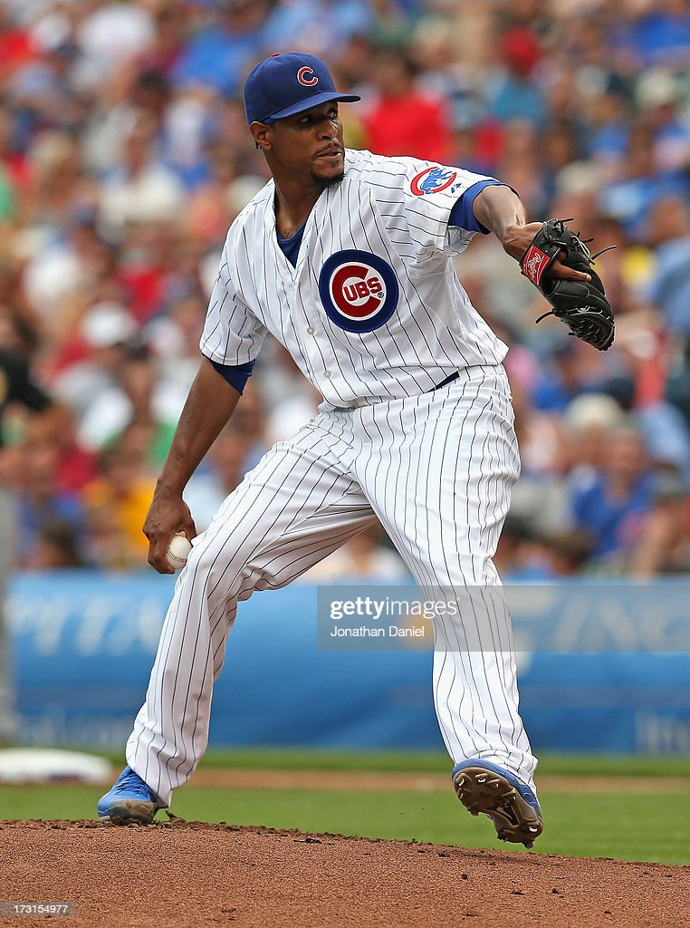 Starting pitcher <a gi-track='captionPersonalityLinkClicked' href=/galleries/search?phrase=Edwin+Jackson&family=editorial&specificpeople=220506 ng-click='$event.stopPropagation()'>Edwin Jackson</a> #36 of the Chicago Cubs delivers the ball against the Pittsburgh Pirates at Wrigley Field on July 6, 2013 in Chicago, Illinois.