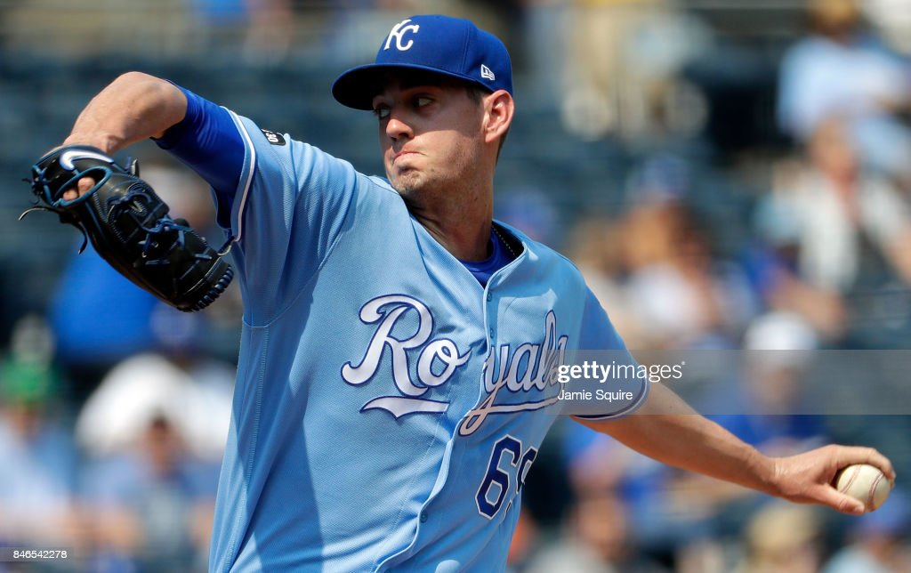 Starting pitcher Eric Skoglund #69 of the Kansas City Royals pitches during the 1st inning of the game against the Chicago White Sox at Kauffman Stadium on September 13, 2017 in Kansas City, Missouri.