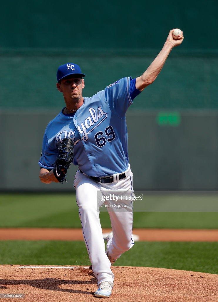 Starting pitcher Eric Skoglund #69 of the Kansas City Royals warms up prior to the game against the Chicago White Sox at Kauffman Stadium on September 13, 2017 in Kansas City, Missouri.