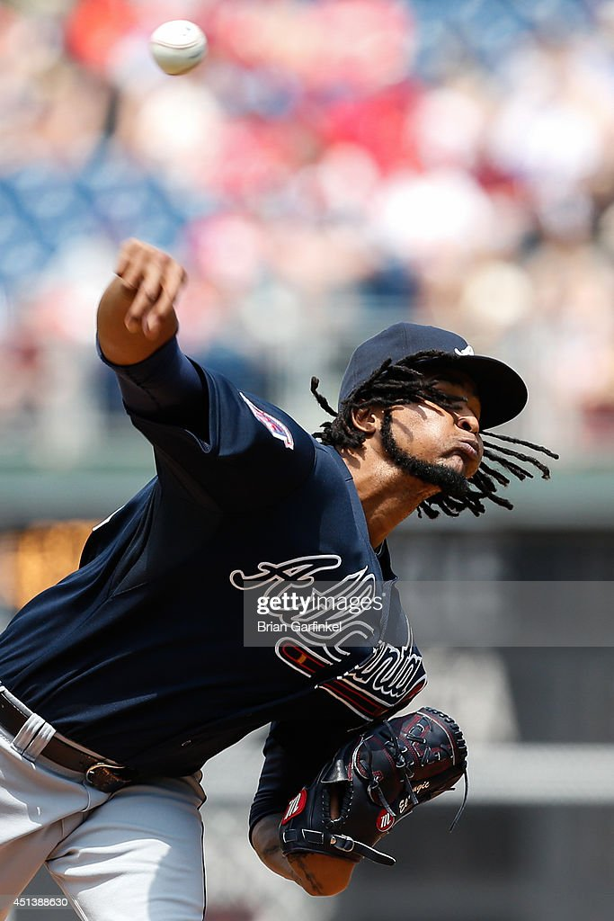 Starting pitcher <a gi-track='captionPersonalityLinkClicked' href=/galleries/search?phrase=Ervin+Santana&family=editorial&specificpeople=243096 ng-click='$event.stopPropagation()'>Ervin Santana</a> #30 of the Atlanta Braves throws a pitch in the first inning of the first game of a doubleheader against the Philadelphia Phillies at Citizens Bank Park on June 28, 2014 in Philadelphia, Pennsylvania.