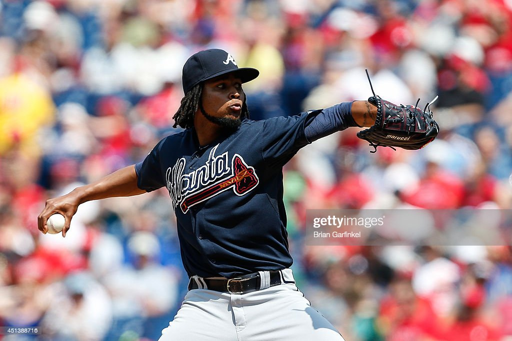 Starting pitcher <a gi-track='captionPersonalityLinkClicked' href=/galleries/search?phrase=Ervin+Santana&family=editorial&specificpeople=243096 ng-click='$event.stopPropagation()'>Ervin Santana</a> #30 of the Atlanta Braves throws a pitch in the second inning of the first game of a doubleheader against the Philadelphia Phillies at Citizens Bank Park on June 28, 2014 in Philadelphia, Pennsylvania.
