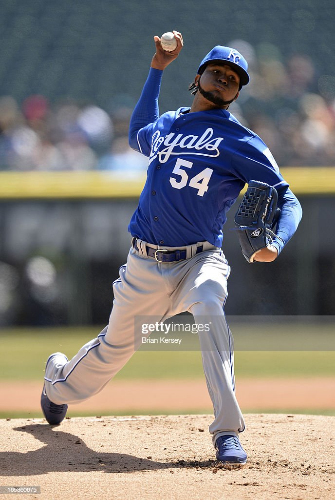 Starting pitcher <a gi-track='captionPersonalityLinkClicked' href=/galleries/search?phrase=Ervin+Santana&family=editorial&specificpeople=243096 ng-click='$event.stopPropagation()'>Ervin Santana</a> #54 of the Kansas City Royals delivers during the first inning against the Chicago White Sox on April 3, 2012 at U.S. Cellular Field in Chicago, Illinois.
