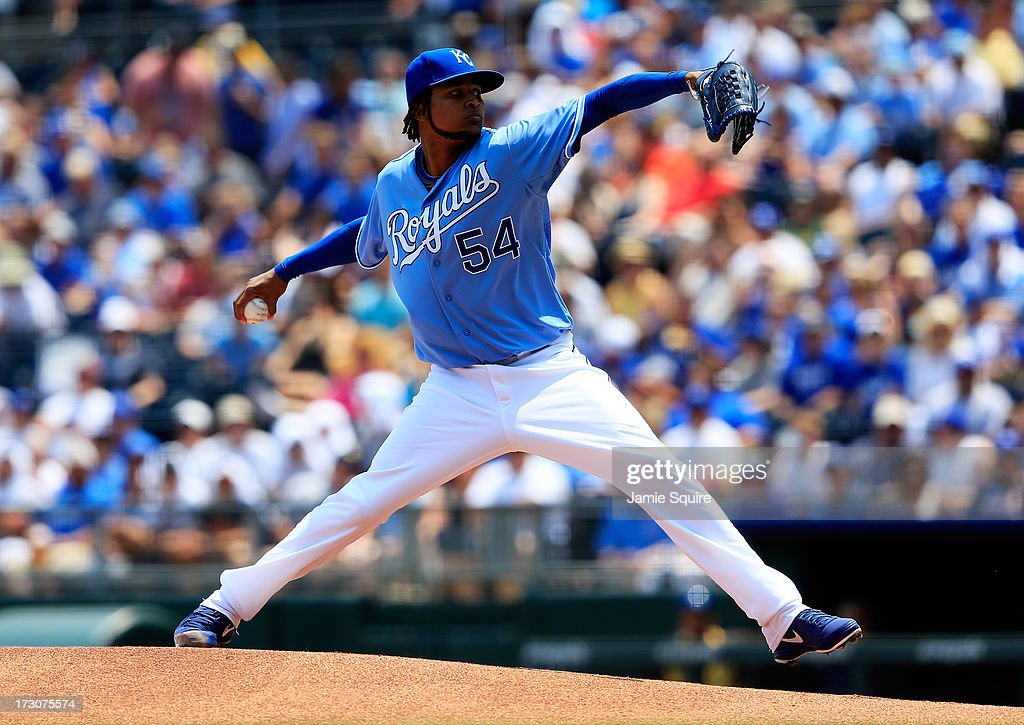 Starting pitcher <a gi-track='captionPersonalityLinkClicked' href=/galleries/search?phrase=Ervin+Santana&family=editorial&specificpeople=243096 ng-click='$event.stopPropagation()'>Ervin Santana</a> #54 of the Kansas City Royals in action during the game against the Oakland Athletics at Kauffman Stadium on July 6, 2013 in Kansas City, Missouri.