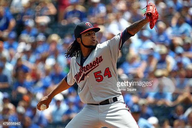 Starting pitcher Ervin Santana of the Minnesota Twins pitches during the 1st inning of the game against the Kansas City Royals at Kauffman Stadium on...