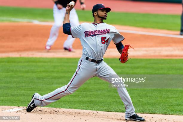 Starting pitcher Ervin Santana of the Minnesota Twins pitches during the first inning against the Cleveland Indians at Progressive Field on June 25...