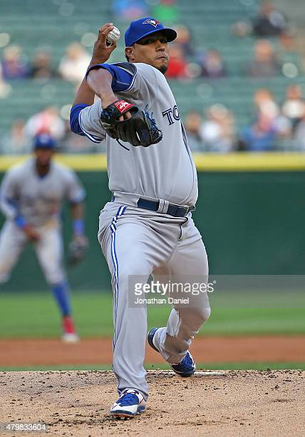 Starting pitcher Felix Doubront of the Toronto Blue Jays delivers the ball against the Chicago White Sox at US Cellular Field on July 7 2015 in...