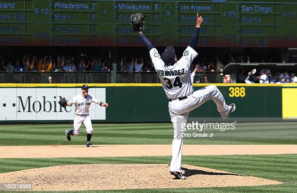 Starting pitcher Felix Hernandez of the Seattle Mariners celebrates after throwing a perfect game against the Tampa Bay Rays at Safeco Field on...