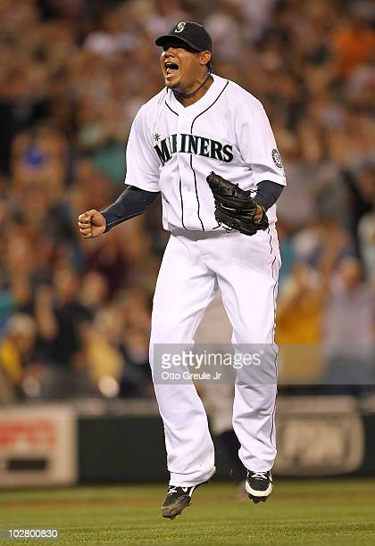 Starting pitcher Felix Hernandez of the Seattle Mariners jumps for joy after defeating the New York Yankees 41 at Safeco Field on July 10 2010 in...