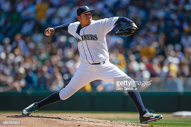 Starting pitcher Felix Hernandez of the Seattle Mariners pitches in the third inning against the Oakland Athletics at Safeco Field on August 26 2015...