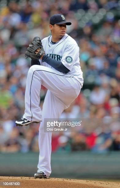 Starting pitcher Felix Hernandez of the Seattle Mariners pitches against the San Diego Padres at Safeco Field on May 23 2010 in Seattle Washington