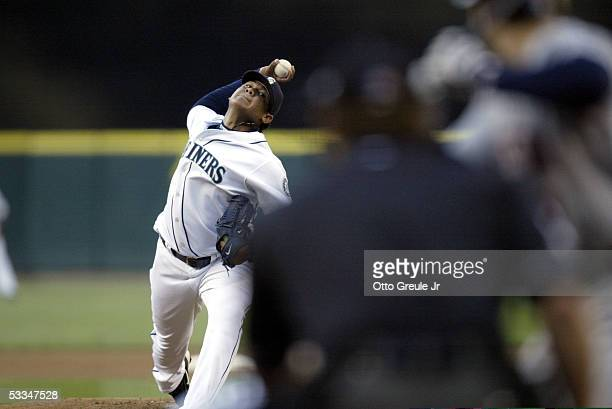 Starting pitcher Felix Hernandez of the Seattle Mariners pitches against the Minnesota Twins on August 9 2005 at Safeco Field in Seattle Washington
