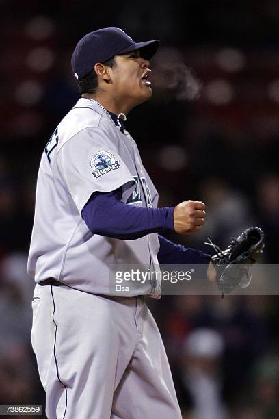 Starting pitcher Felix Hernandez of the Seattle Mariners reacts after throwing a one hit shutout against the Boston Red Sox on April 11 2007 at...