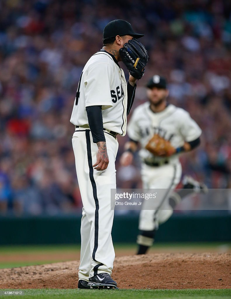 Starting pitcher Felix Hernandez #34 of the Seattle Mariners reacts at the end of the top of the sixth inning against the Boston Red Sox at Safeco Field on May 16, 2015 in Seattle, Washington. Hernandez gave up two runs in the inning.