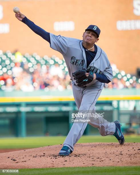 Starting pitcher Felix Hernandez of the Seattle Mariners throws in the first inning during a MLB game against the Detroit Tigers at Comerica Park on...