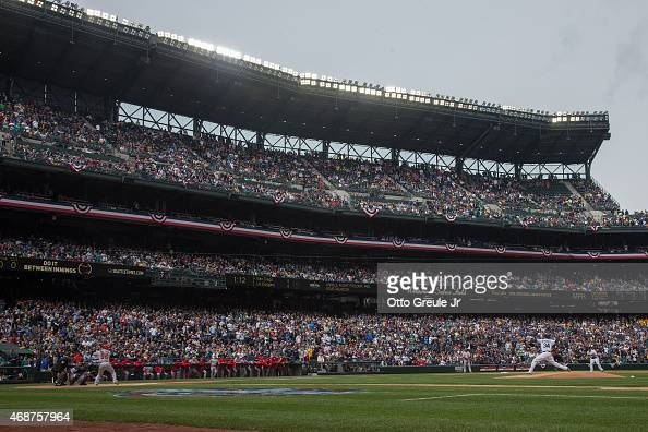 Starting pitcher Felix Hernandez of the Seattle Mariners throws the first pitch of the game against Kole Calhoun of the Los Angeles Angels of Anaheim...