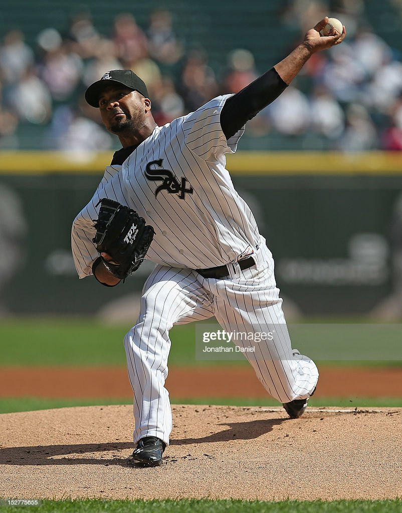 Starting pitcher <a gi-track='captionPersonalityLinkClicked' href=/galleries/search?phrase=Francisco+Liriano&family=editorial&specificpeople=580400 ng-click='$event.stopPropagation()'>Francisco Liriano</a> #58 of the Chicago White Sox delivers the ball against the Cleveland Indians at U.S. Cellular Field on September 25, 2012 in Chicago, Illinois. The Indians defeated the White Sox 4-3.