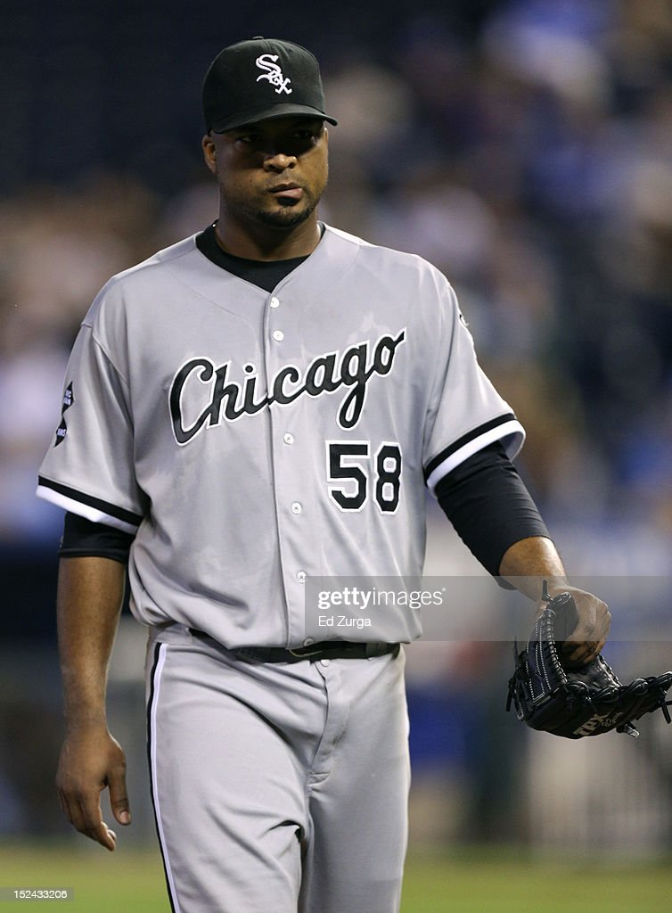 Starting pitcher <a gi-track='captionPersonalityLinkClicked' href=/galleries/search?phrase=Francisco+Liriano&family=editorial&specificpeople=580400 ng-click='$event.stopPropagation()'>Francisco Liriano</a> #58 of the Chicago White Sox walks to the dugout as he leaves a game against the Kansas City Royals in the sixth inning at Kauffman Stadium on September 20, 2012 in Kansas City, Missouri.