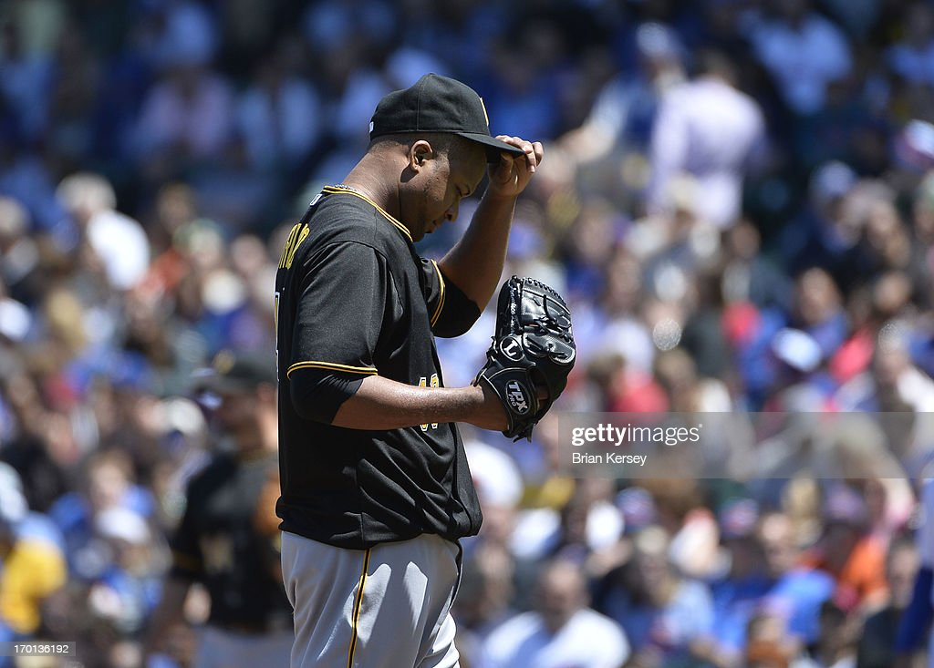 Starting pitcher <a gi-track='captionPersonalityLinkClicked' href=/galleries/search?phrase=Francisco+Liriano&family=editorial&specificpeople=580400 ng-click='$event.stopPropagation()'>Francisco Liriano</a> #47 of the Pittsburgh Pirates stands on the mound during the second inning against the Chicago Cubs at Wrigley Field on June 7, 2013 in Chicago, Illinois. The Pirates defeated the Cubs 2-0.