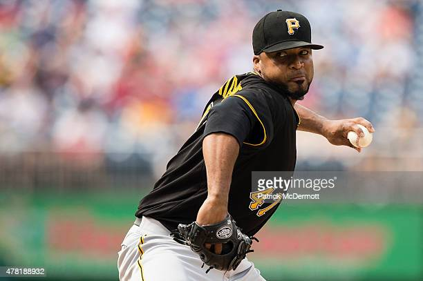 Starting pitcher Francisco Liriano of the Pittsburgh Pirates throws a pitch to a Washington Nationals batter in the first inning during a baseball...