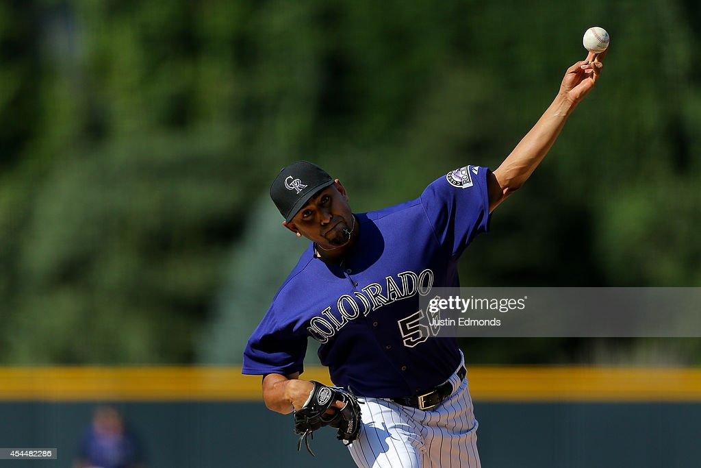 Starting pitcher <a gi-track='captionPersonalityLinkClicked' href=/galleries/search?phrase=Franklin+Morales&family=editorial&specificpeople=4175198 ng-click='$event.stopPropagation()'>Franklin Morales</a> #56 of the Colorado Rockies delivers to home plate during the first inning against the San Francisco Giants at Coors Field on September 1, 2014 in Denver, Colorado.