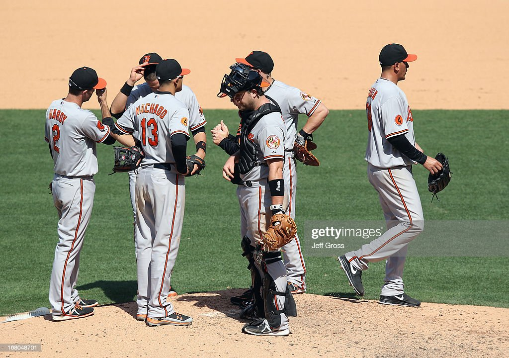 Starting pitcher <a gi-track='captionPersonalityLinkClicked' href=/galleries/search?phrase=Freddy+Garcia&family=editorial&specificpeople=203160 ng-click='$event.stopPropagation()'>Freddy Garcia</a> (R) #38 of the Baltimore Orioles comes out of the game in the seventh inning against the Los Angeles Angels of Anaheim at Angel Stadium of Anaheim on May 4, 2013 in Anaheim, California. The Orioles defeated the Angels 5-4 in ten innngs.