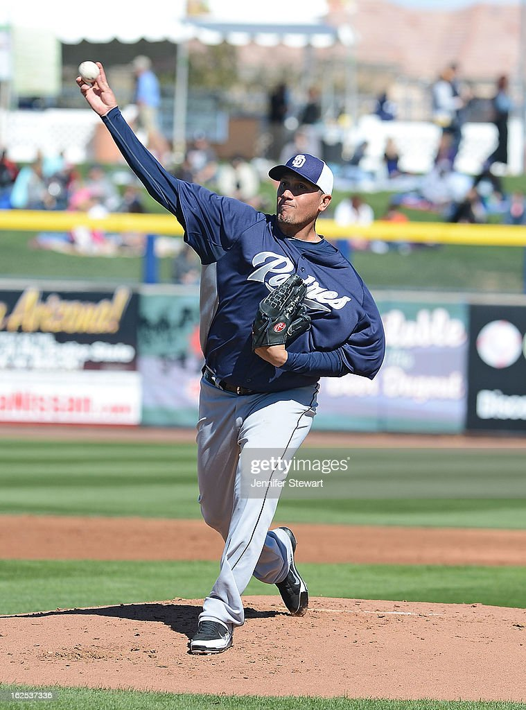 Starting pitcher <a gi-track='captionPersonalityLinkClicked' href=/galleries/search?phrase=Freddy+Garcia&family=editorial&specificpeople=203160 ng-click='$event.stopPropagation()'>Freddy Garcia</a> #41 of the San Diego Padres pitches in the spring training game against the Seattle Mariners at Peoria Sports Complex on February 24, 2013 in Peoria, Arizona.