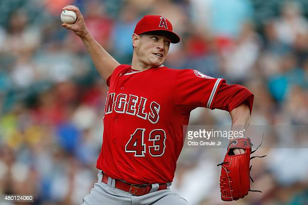 Starting pitcher Garrett Richards of the Los Angeles Angels of Anaheim pitches against the Seattle Mariners in the first inning at Safeco Field on...