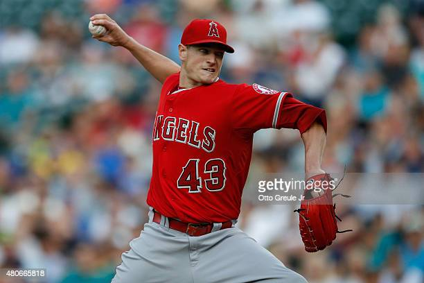 Starting pitcher Garrett Richards of the Los Angeles Angels of Anaheim pitches against the Seattle Mariners at Safeco Field on July 9 2015 in Seattle...