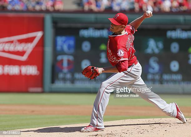 Starting pitcher Garrett Richards of the Los Angeles Angels throws during the first inning of a baseball game against the Texas Rangers at Globe Life...