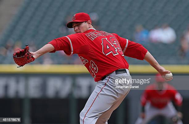 Starting pitcher Garrett Rochards of the Los Angeles Angels of Anaheim delivers the ball against the Chicago White Sox at US Cellular Field on July 1...