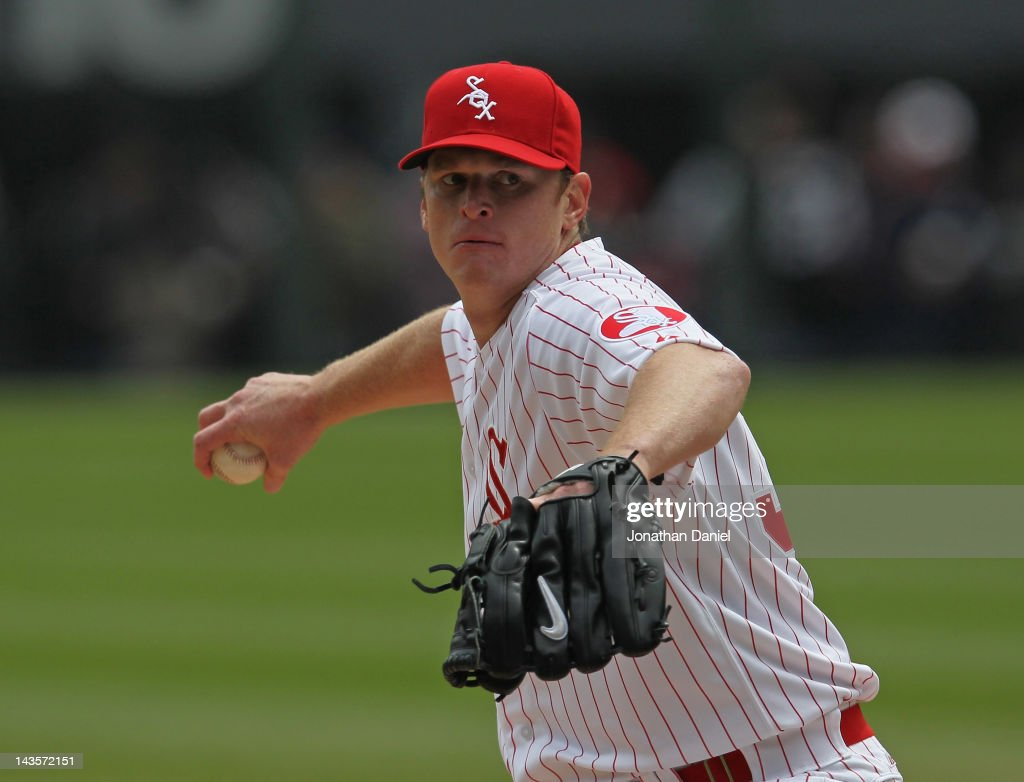 Starting pitcher <a gi-track='captionPersonalityLinkClicked' href=/galleries/search?phrase=Gavin+Floyd&family=editorial&specificpeople=224627 ng-click='$event.stopPropagation()'>Gavin Floyd</a> #34 of the Chicago White Sox delivers the ball against the Boston Red Sox at U.S. Cellular Field on April 29, 2012 in Chicago, Illinois.