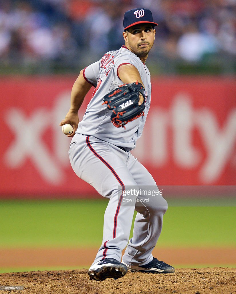 Starting pitcher <a gi-track='captionPersonalityLinkClicked' href=/galleries/search?phrase=Gio+Gonzalez&family=editorial&specificpeople=759378 ng-click='$event.stopPropagation()'>Gio Gonzalez</a> #47 of the Washington Nationals delivers a pitch during the gem against the Philadelphia Phillies at Citizens Bank Park on September 27, 2012 in Philadelphia, Pennsylvania.