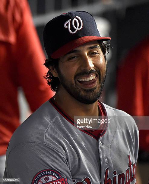 Starting pitcher Gio Gonzalez of the Washington Nationals reacts in the dugout after finishing the eighth inning against the Los Angeles Dodgers...