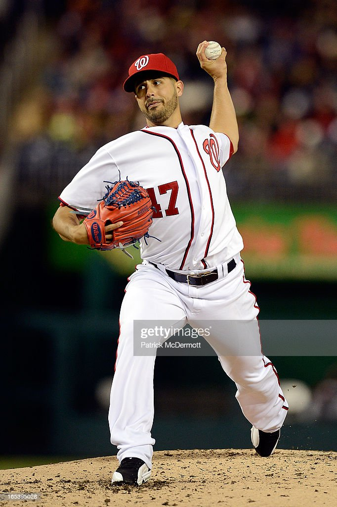 Starting pitcher <a gi-track='captionPersonalityLinkClicked' href=/galleries/search?phrase=Gio+Gonzalez&family=editorial&specificpeople=759378 ng-click='$event.stopPropagation()'>Gio Gonzalez</a> #47 of the Washington Nationals throws a pitch in the third inning during a game against the Miami Marlins at Nationals Park on April 3, 2013 in Washington, DC.