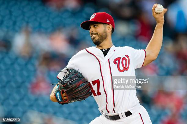 Starting pitcher Gio Gonzalez of the Washington Nationals throws a pitch to a Miami Marlins batter in the first inning during a game at Nationals...