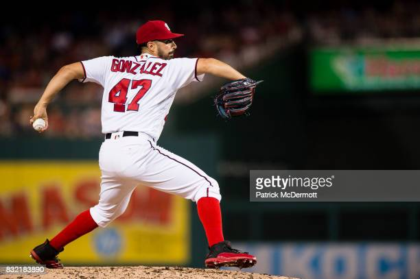 Starting pitcher Gio Gonzalez of the Washington Nationals throws a pitch against the Los Angeles Angels of Anaheim in the sixth inning during a game...